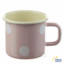 Email Becher Trinkbecher rosa gepunktet Emaille Geschirr 8x8 cm / 250 ml