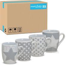 Tassen Becher Kaffeebecher 36 Stk. Karton Sterne weiß / grau Keramik 300 ml