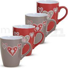 Tasse Becher Kaffeebecher B-WARE 1 Stk. bunt Landhaus Herzen 10 cm / 350 ml