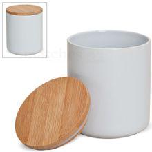 Keramik Vorratsdose mit Bambusdeckel vielseitig verwendbar 12x10 cm / ca. 550 ml