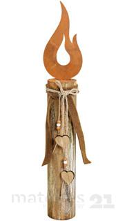 Holzpfahl mit Kerzenflamme aus Metall & Schleife Holz-Deko 11x8x61 cm