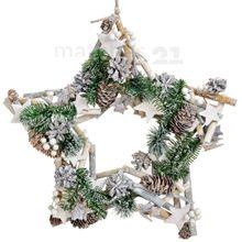 Weihnachtskranz Weihnachtsdeko Kranz mit Holz Tannenzweigen & Zapfen Ø 43 cm