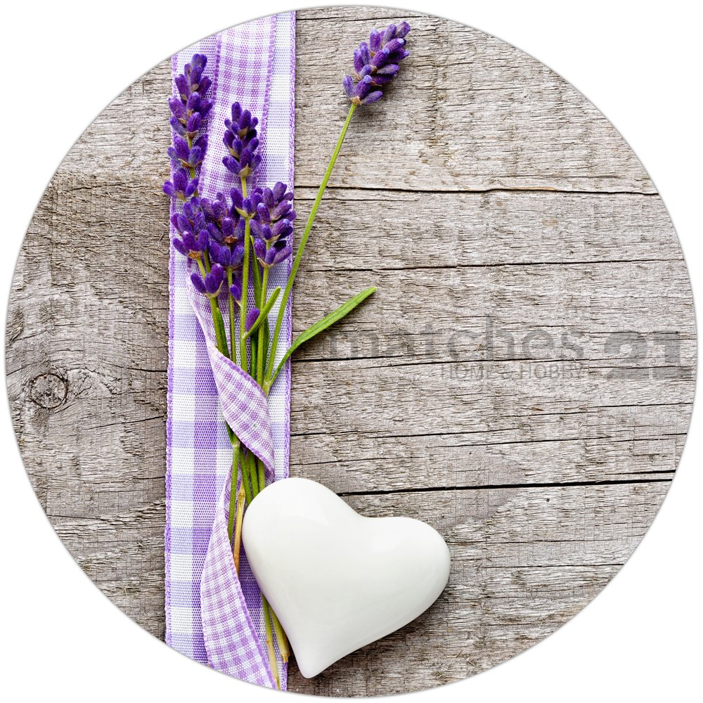 tischset platzset motiv lavendel auf holzbrett 1 stk abwaschbar rund 38 cm kaufen matches21. Black Bedroom Furniture Sets. Home Design Ideas