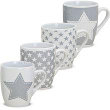 Tasse Becher Kaffeebecher 1 Stk. Sterne weiß / grau B-WARE Keramik 10 cm / 300 ml