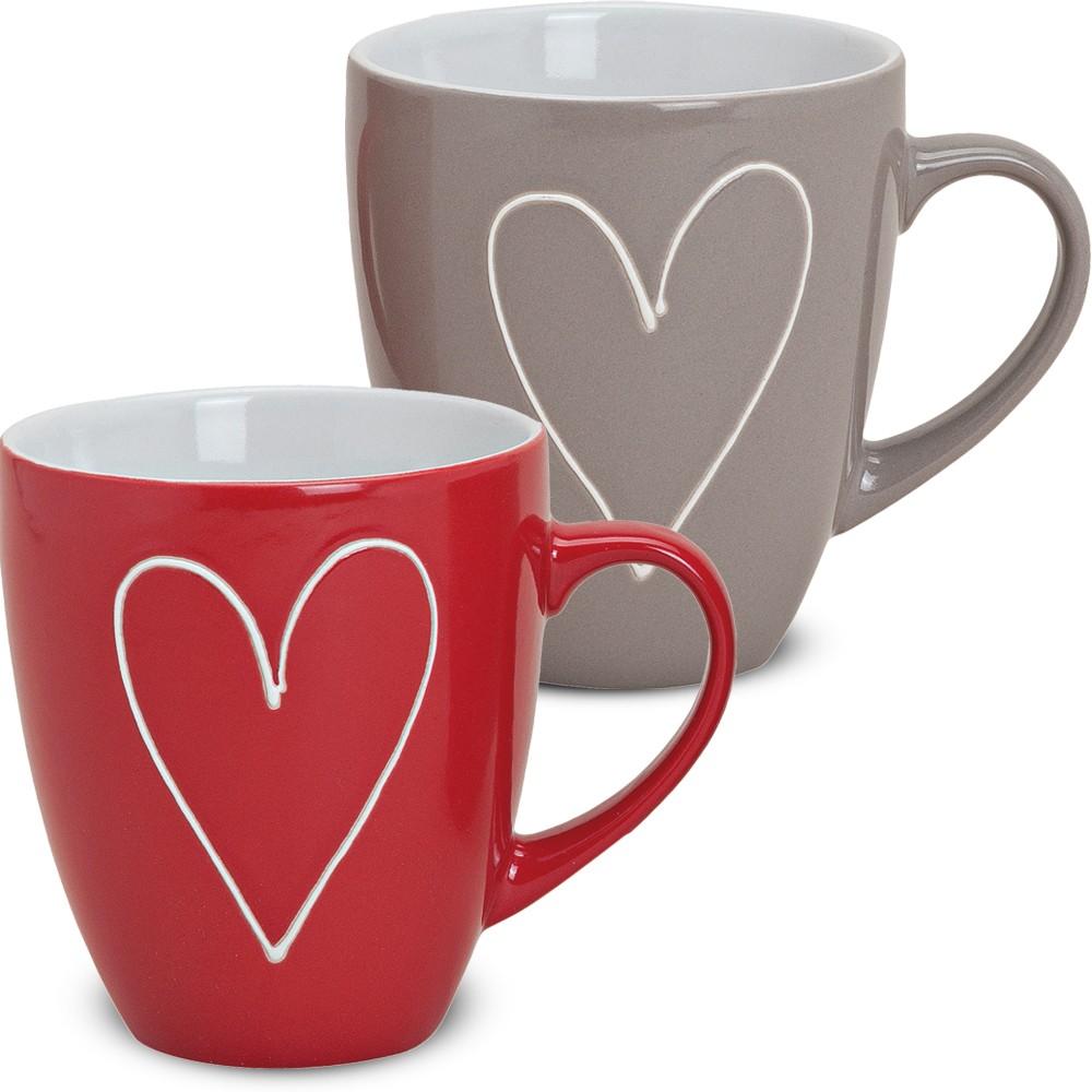 tasse becher herzen herzdekor rot grau 1 stk b ware keramik 10 cm 350 ml kaufen matches21. Black Bedroom Furniture Sets. Home Design Ideas