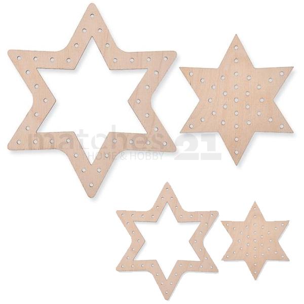 Kinder Sterne Fädelformen Holz Fädelsterne 4 Stk. Basteln Ab 3 Jahren 001