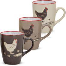 Tassen Becher Kaffeebecher Hühner / Ostern 3er Set Keramik je 10 cm / 280 ml