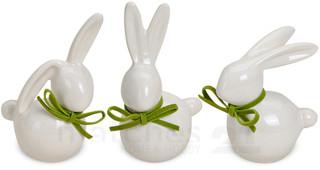 Hasen Osterhasen Deko Figuren weiß / grüne Schleife 3er Set je 7-9 cm