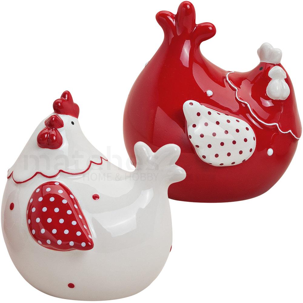 Hühner Deko Figuren Paar Frühling Landhaus Stil 2 Stk. Rot