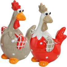 Lustige Hühner Deko Figuren Paar Frühling / Ostern 2 Stk. rot / grau je 14 cm
