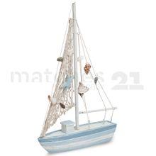 Segelboot Segelschiff Maritime Deko aus Holz 1 Stk. 23x4x35 cm