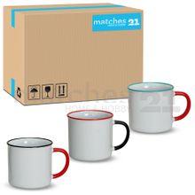 Bunte Tassen Becher Kaffeebecher Emaille-Optik Keramik 36 Stk. Karton je 320 ml