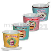 Retro Eisbecher Ice Cream 4er Set rosa / hellblau / gelb / mint Keramik 200 ml