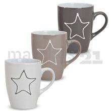 Tasse Becher mit Stern beige grau weiß Keramik 10 cm / 250 ml 1 Stk. B-WARE