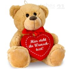 Herz Teddybär Herzteddy mit Wunschtext - individuell bedruckbar 25 cm hellbraun