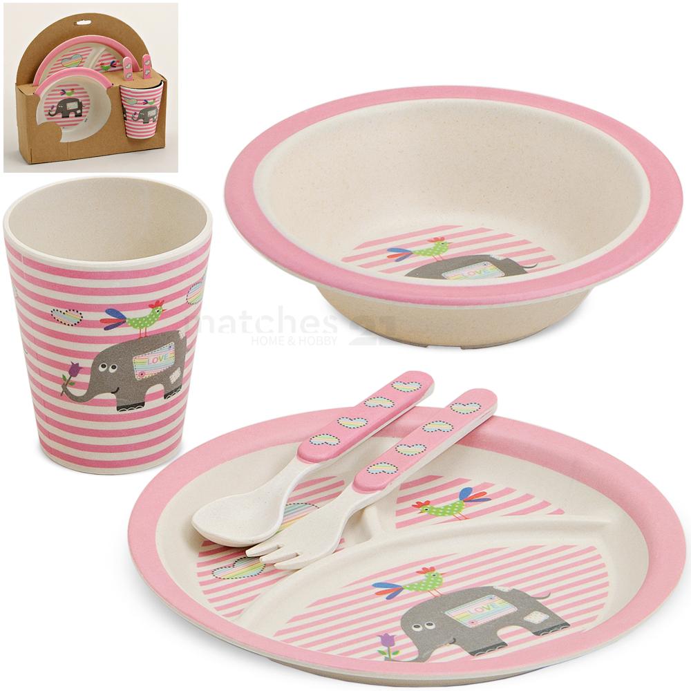 kinder bambus geschirrset kindergeschirr m dchen elefant rosa 5 tlg mit besteck kaufen. Black Bedroom Furniture Sets. Home Design Ideas