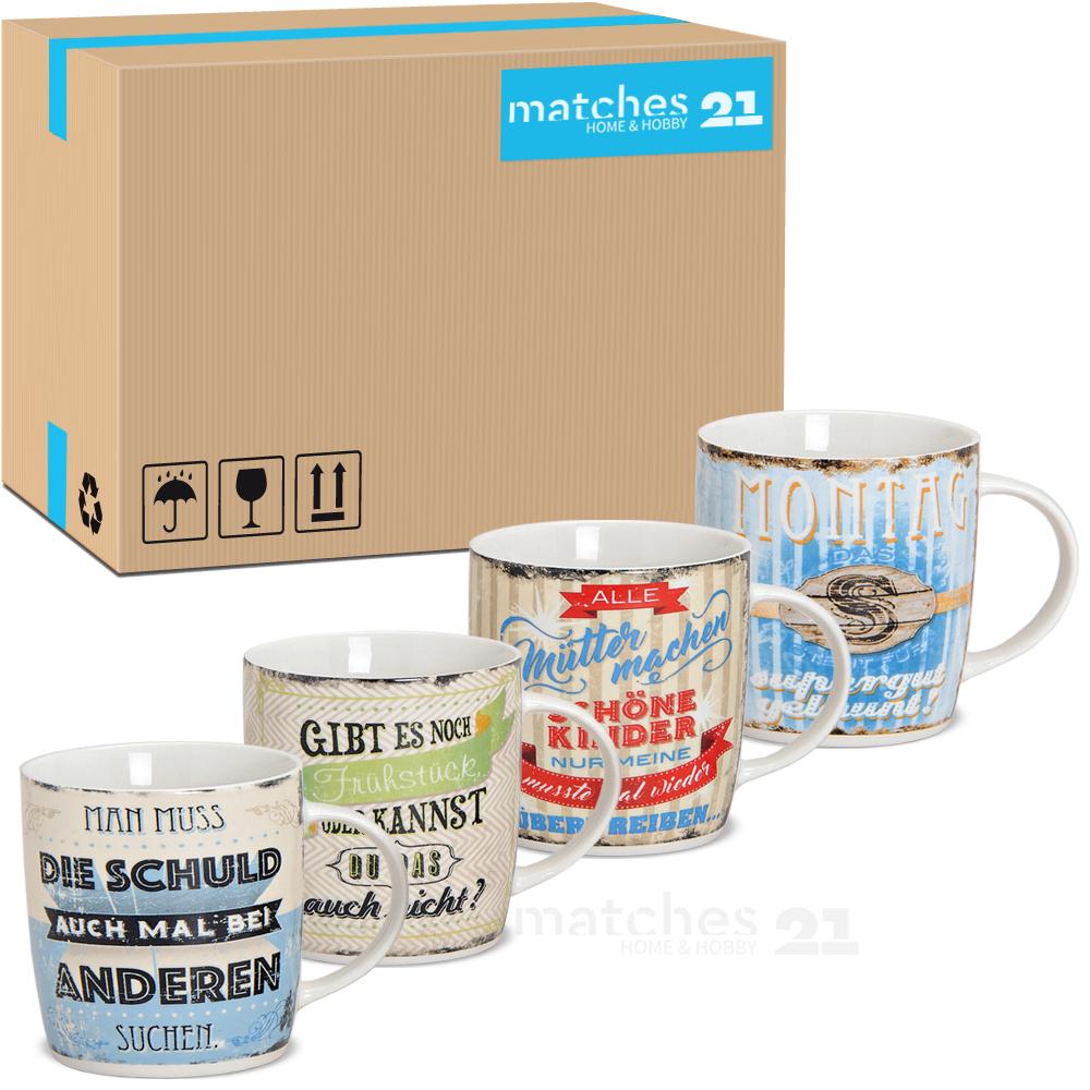 Tassen Becher Kaffeebecher Sprüche Bunt Porzellan 36 Stk Karton 9