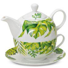 Tea For One Monstera Blätter Deko Tasse & Teekanne 560 ml im Geschenkkarton