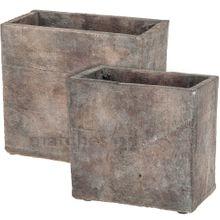 Beton Jardinieren Pflanzschalen 2er Set antike Kiste Optik rechteckig braun