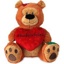 Herz Teddybär HAB DICH LIEB Plüschteddy Hashtag Herzteddy Partner Geschenk