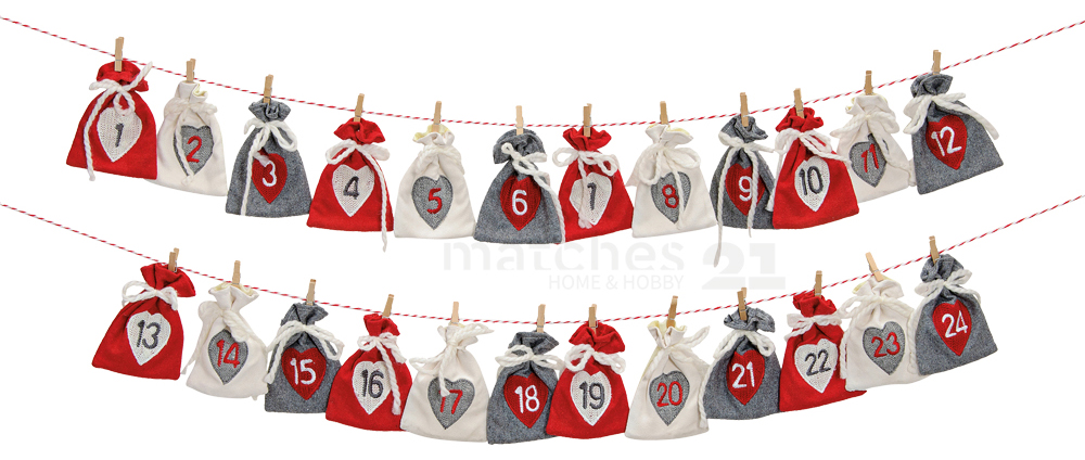 adventskalender girlande mit nummerierten s ckchen in wei rot grau 220 cm kaufen matches21. Black Bedroom Furniture Sets. Home Design Ideas