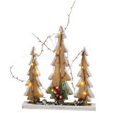 Tannenbaum Gruppe Holz 15 LEDs Lichter Weihnachtsdeko & Beleuchtung 35x40 cm