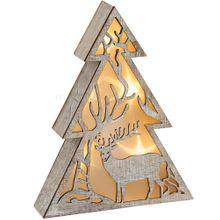 Leuchtender Baum Holz Weihnachtsdeko mit Hirsch & LED Beleuchtung 1 Stk 21x5 cm
