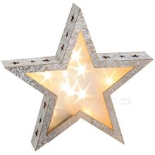 Weihnachtlicher Stern Holz Weihnachtsdeko 3D Effekt LED Beleuchtung 28x6x28 cm