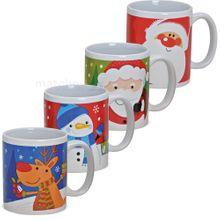 Tassen Becher Weihnachtstassen Keramik witzige Weihnachtsmotive 4er Set 11 cm