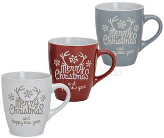 Tassen Becher Weihnachtstassen Keramik Merry Christmas weiß grau rot 3er Set 10 cm