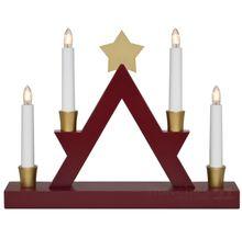 Moderner Holz Fensterleuchter Weihnachtsleuchter rot / gold 4-flammig 33 cm
