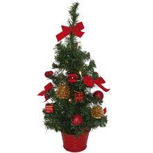 Kleiner Weihnachtsbaum geschmückt warmweiße Lichterkette & rote Deko 45 cm