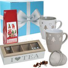 Edles Tee Geschenkset 7-tlg. Weihnachtstassen & Tee-Set im Geschenkkarton