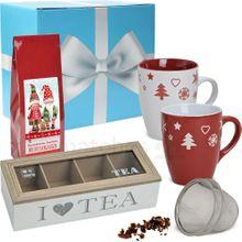 Edles Tee Geschenkset 7-tlg. bunte Weihnachtstassen & Tee-Set im Geschenkkarton