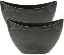 Jardinieren 2 Stk Pflanzschalen ovale Pflanzgefäße Marmor-Optik grau 24x10 cm