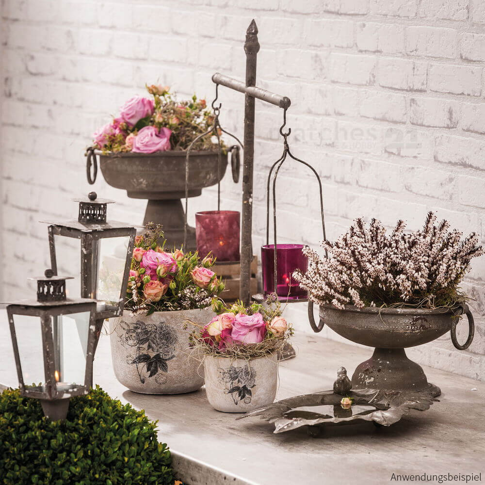 blumen k bel pflanzk bel aus beton grau rosendekor poststempel 2 stk 15 5 cm kaufen. Black Bedroom Furniture Sets. Home Design Ideas