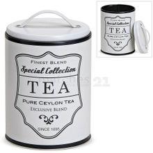 Vorratsdose Teedose Aufbewahrung Metall & Deckel Retro-Aufdruck Tea Ø 10 cm 001