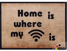 Fußmatte Fußabstreifer ESSENCE Home is where my WiFi is 40x60x0,5cm waschbar 001