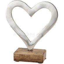 Herz Holz & Metall moderne Dekofigur Skulptur Love silber / braun 1 Stk. 17 cm