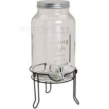 Glas Getränkespender mit Zapfhahn Schraubverschluss & Metallständer / 5,5 Ltr.