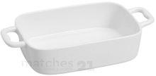 Snackschale Porzellan Schale Servierschale weiß eckig mit Griffen 1 Stk 23x5x13 cm