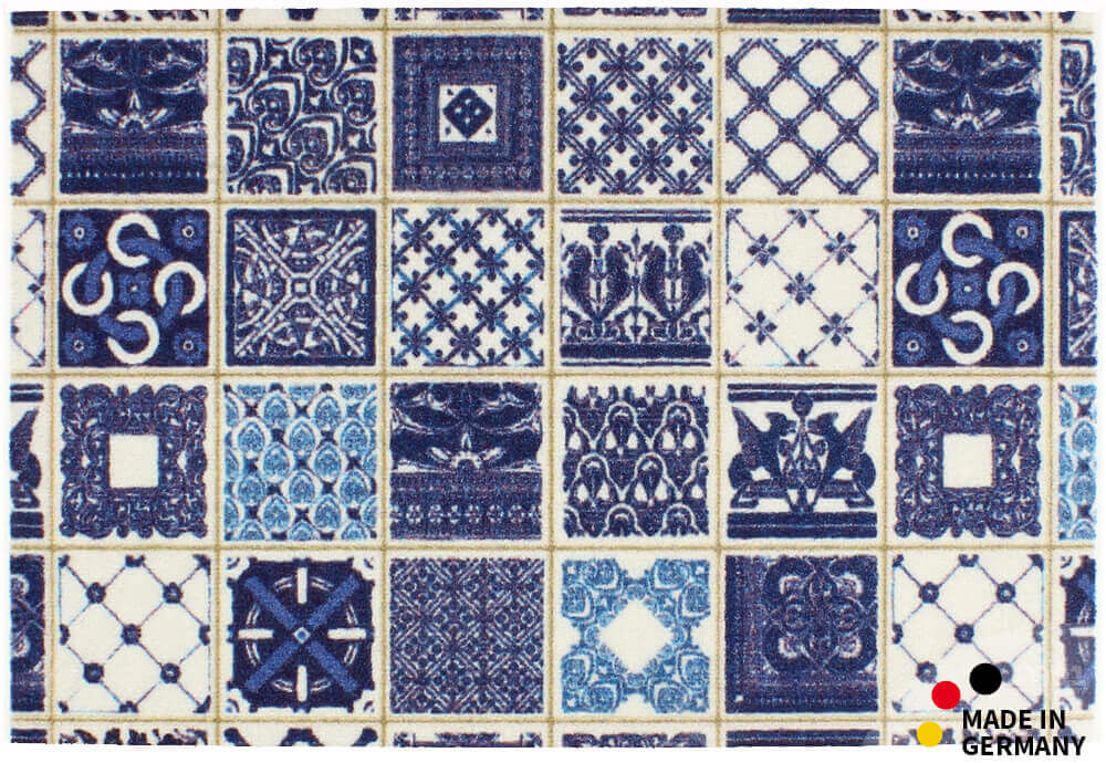 Fußmatte Fußabstreifer Essence Kacheln Fliesen Blau Weiß 40x60x0