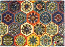 Fußmatte Fußabstreifer ESSENCE Fliesen Marokko bunt orange 50x70x0,5cm waschbar
