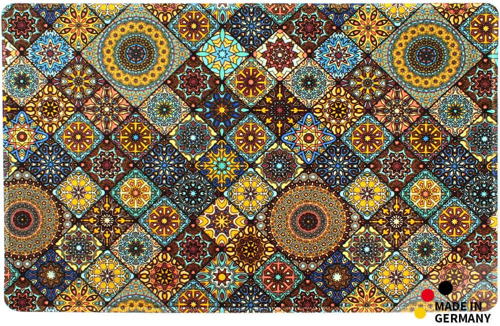 k chenl ufer teppichl ufer mosaik marokko blau orange l ufer 50x80 cm waschbar kaufen matches21. Black Bedroom Furniture Sets. Home Design Ideas