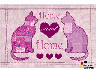 fu matte fu abstreifer flat sweet home katze rosa 44x67 cm extra flach waschbar kaufen matches21. Black Bedroom Furniture Sets. Home Design Ideas