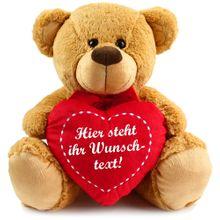 Herz Teddybär Herzteddy mit Wunschtext - individuell bedruckbar 40 cm hellbraun