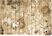 Fußmatte Fußabstreifer FLAT Holzbretter & Rosen 44x67 cm Textil waschbar