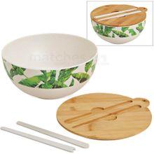 Bambus Salatschüssel Tropical Blätter Deckel & Besteck 2,8 ltr umweltfreundlich