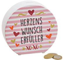 Sparbüchse HERZENSWUNSCH ERFÜLLER Spardose Keramik rosa bunt 1 Stk. 14x13 cm