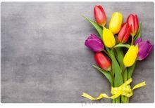 Tischset Platzset MOTIV Frühling Blumen bunte Tulpen & Beton 1 Stk. abwaschbar